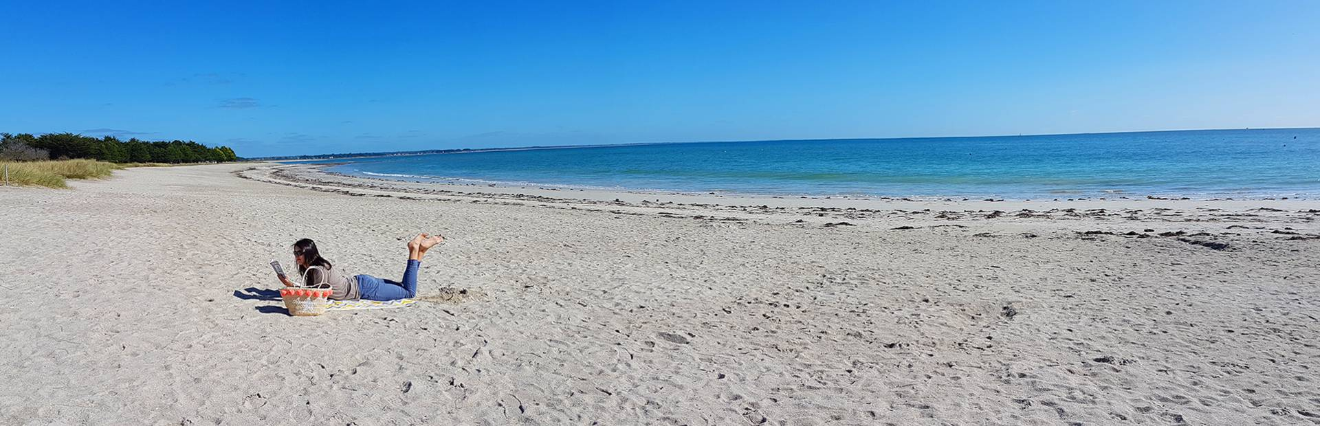 Lazing on the beach at Ile Tudy, Pays Bigouden-® E Cleret