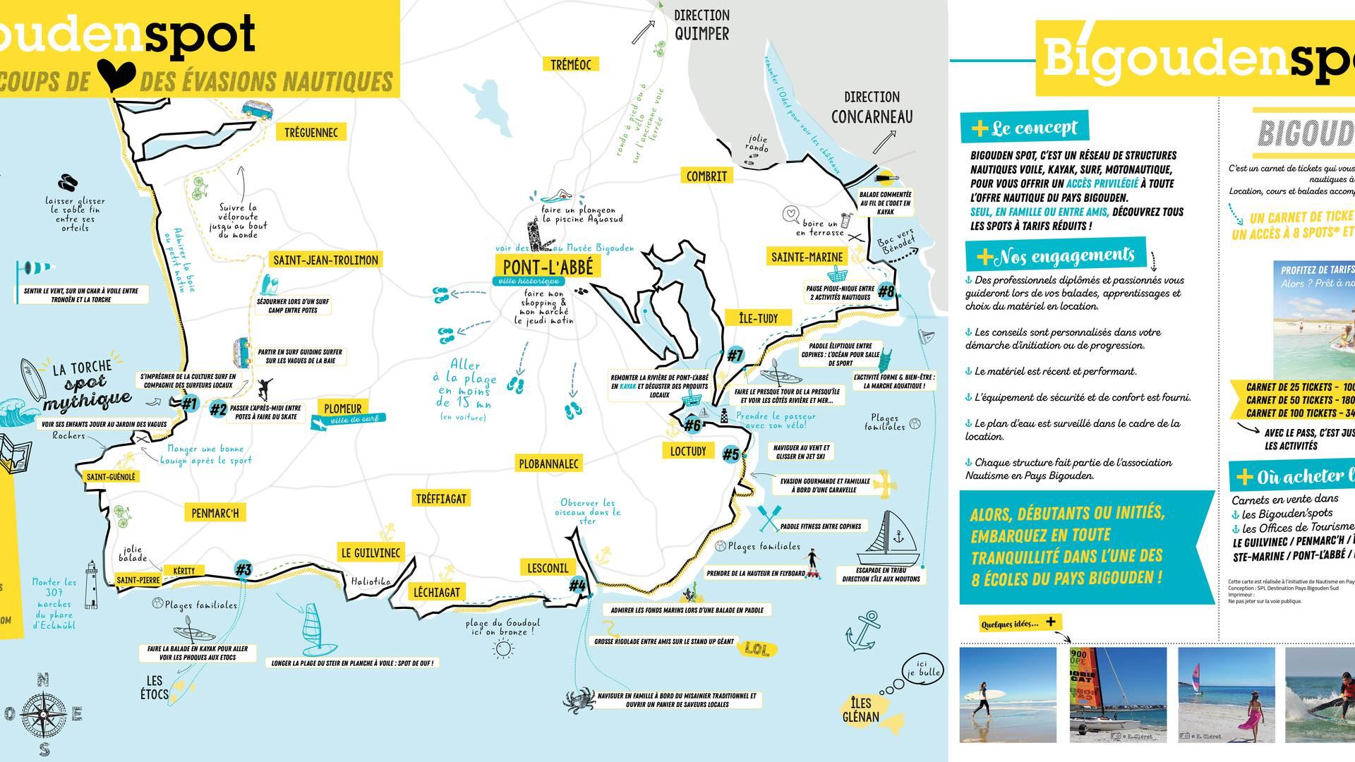 Carte des évasions nautiques en Pays Bigouden