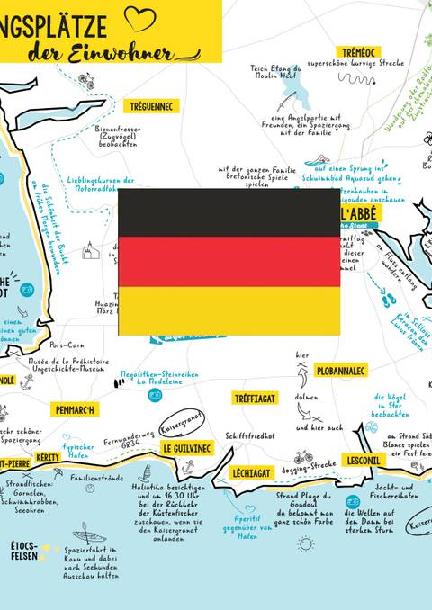La carte des habitants et infos pratiques du Pays Bigouden Sud - Deutsch