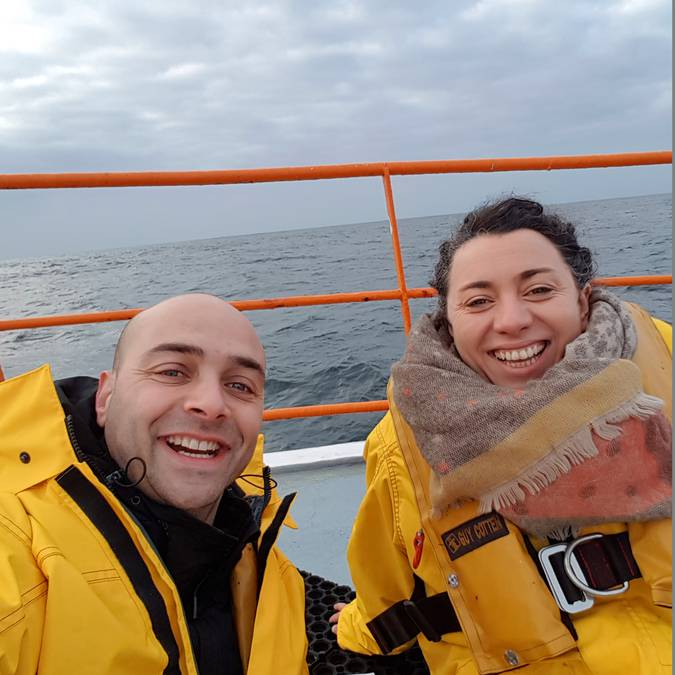 Marlène and Miguel langoustine fishing far out at sea © M Pimentel